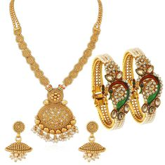 bee28bd648 Buy Sukkhi Peacock Gold Plated Necklace Set & Kada Combo For Women-Purplle