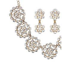 671f1180c Buy Crunchy Fashion Touchstone White Rhinestones Pretty Floral Necklace Set -Purplle