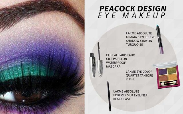 Peacock Design Eye Makeup