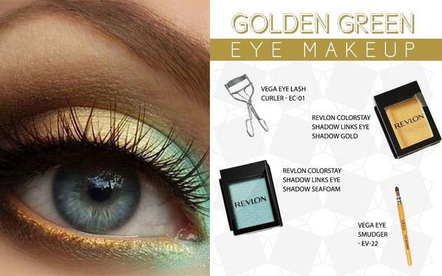 .Golden Green Eye Make Up