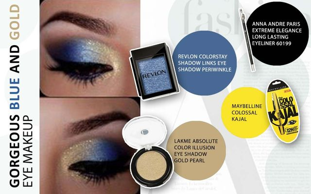 Gorgeous Blue And Gold Eye Make Up