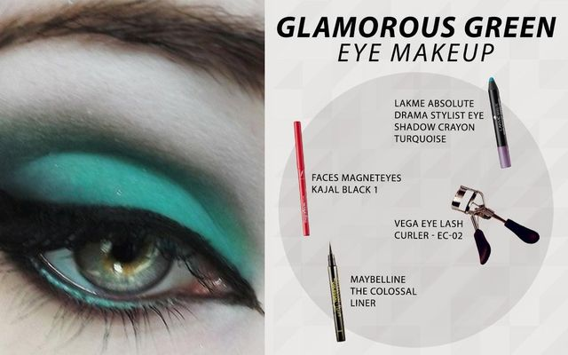 Glamorous Green Eye Make Up