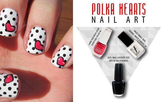 Polka Hearts Nail Art