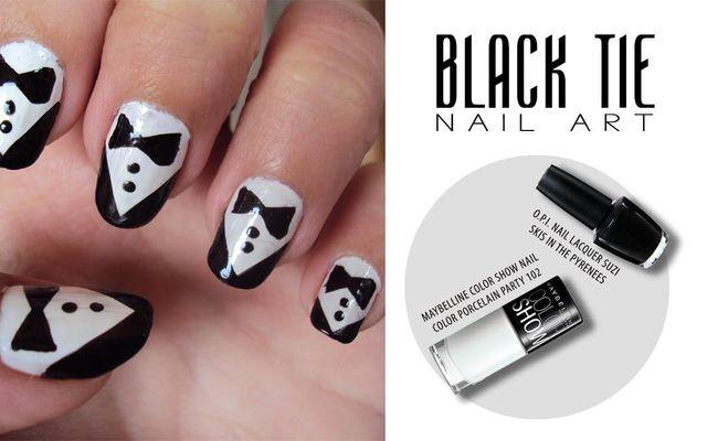 Black Tie Nail Art