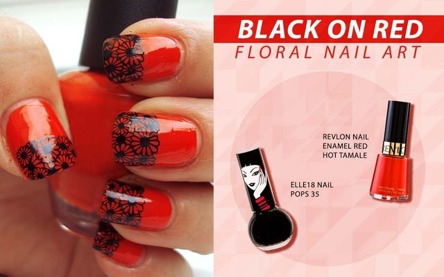 Black On Red Floral Nail Art