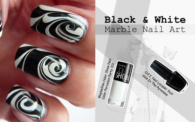 Black & White Marble Nail Art