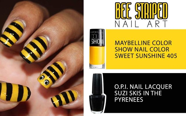 Bee Striped Nail Art