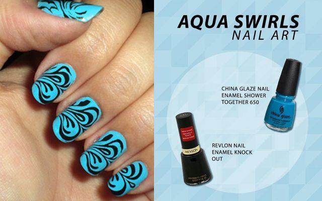 Aqua Swirls Nail Art
