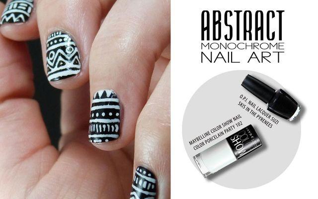 Abstract Monochrome Nail Art
