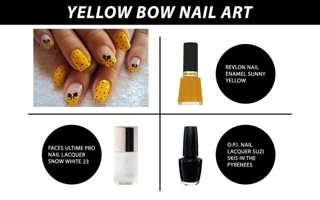 Yellow Bow Nail Art