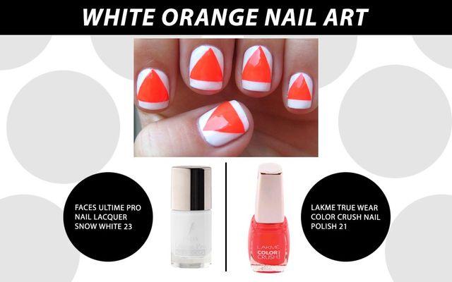 White Orange Nail Art