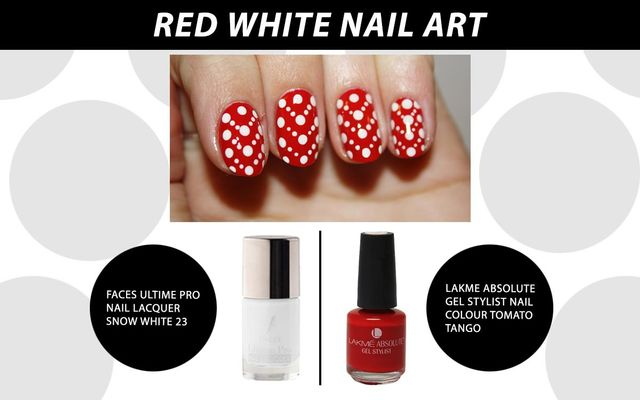 Red White Nail Art