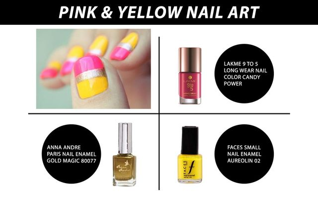 Pink & Yellow Nail Art