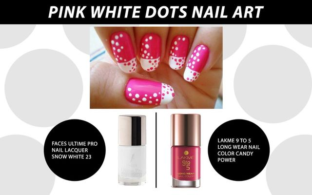 Pink White Dots Nail Art