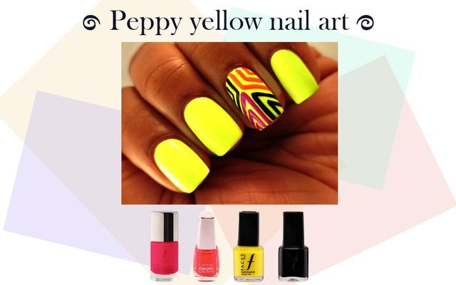 Peppy Yellow Nail Art