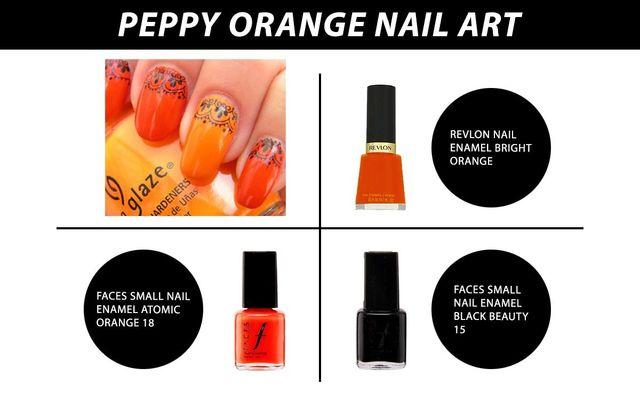 Peppy Orange Nail Art