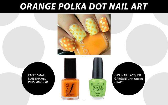 Orange Polka Dot Nail Art