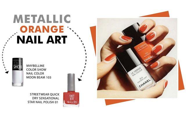 Metallic Orange Nail Art