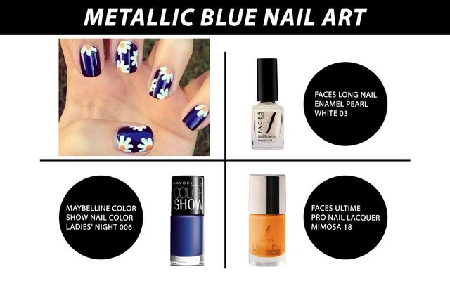 Metallic Blue Nail Art