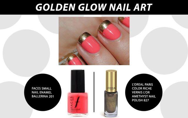 Golden Glow Nail Art