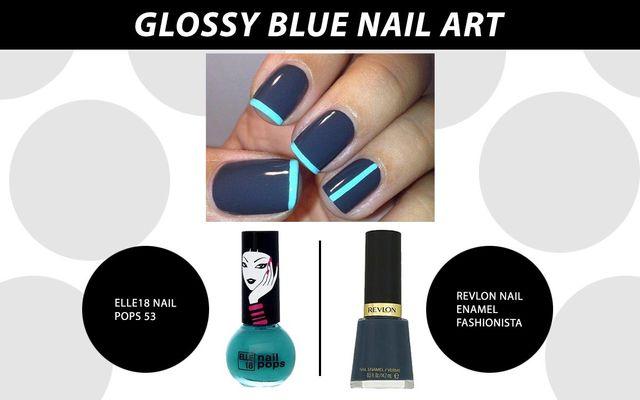 Glossy Blue Nail Art