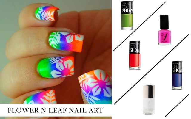 Flower N Leaf Nail Art