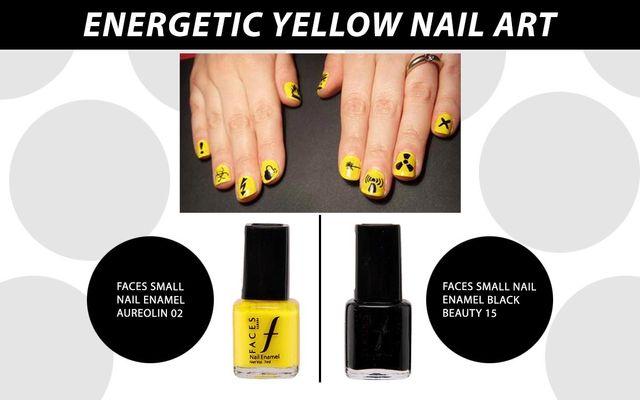 Energetic Yellow Nail Art