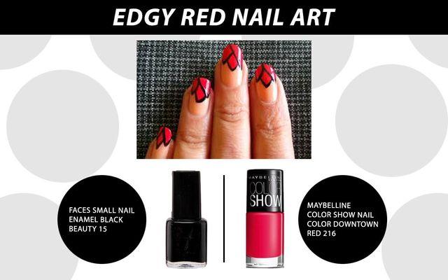 Edgy Red Nail Art