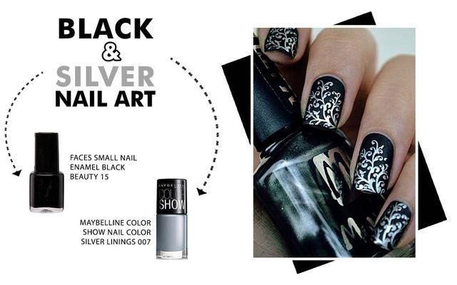 Black & Silver Nail Art