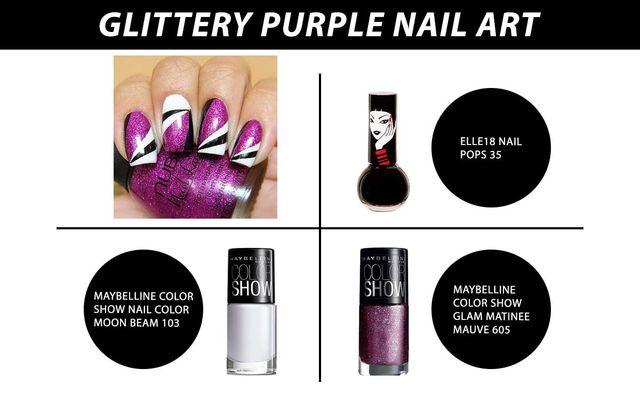 Glittery Purple Nail Art