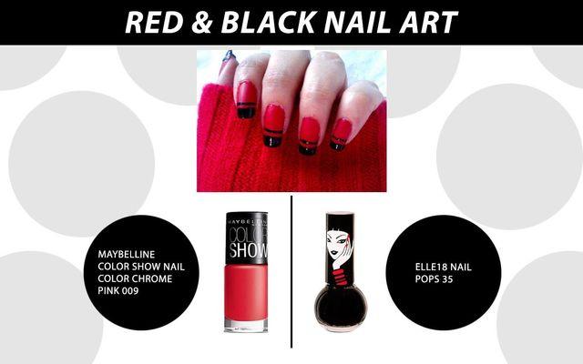 Red & Black Nail Art