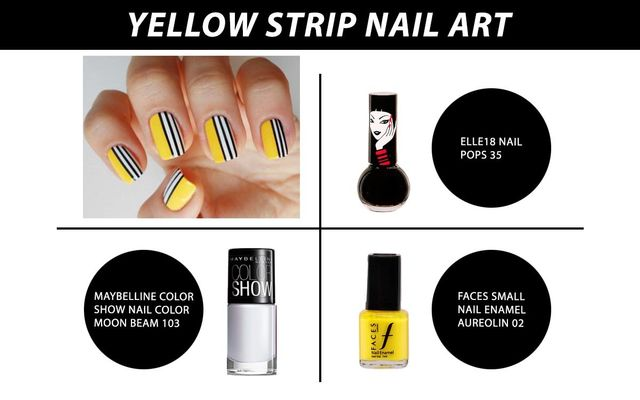 Yellow Strip Nail Art