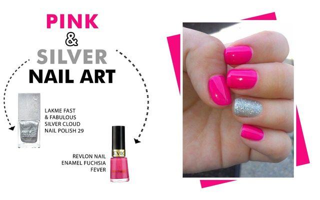 Pink & Silver Nail Art
