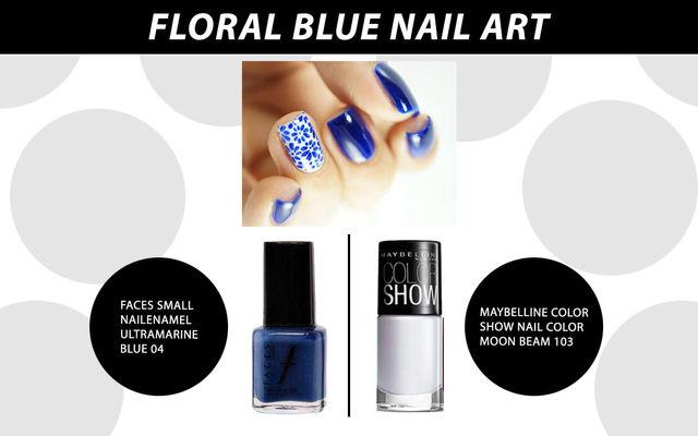 Floral Blue Nail Art