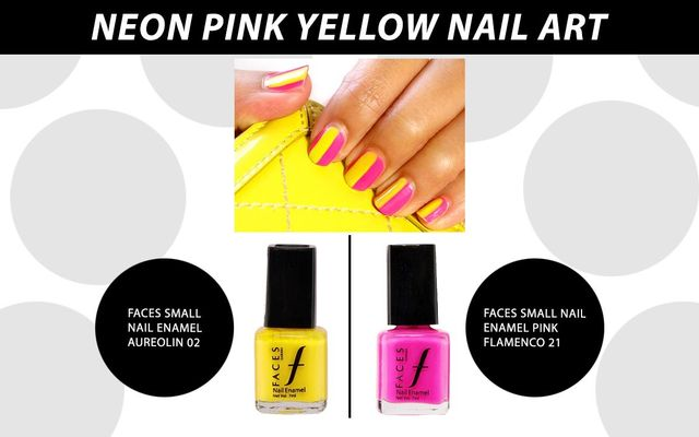 Neon Pink Yellow Nail Art