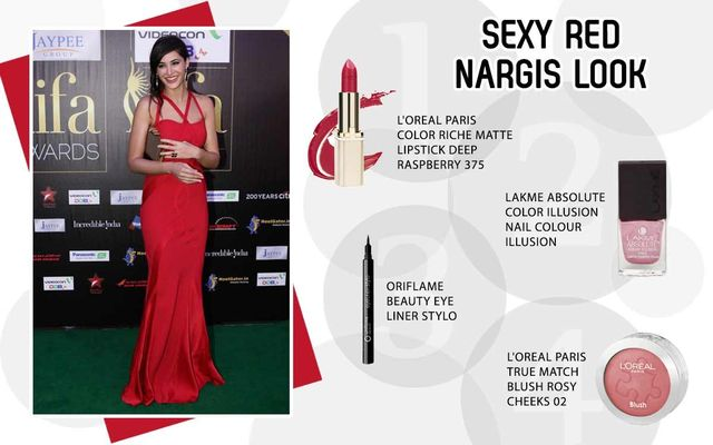 Sexy Red Nargis Look