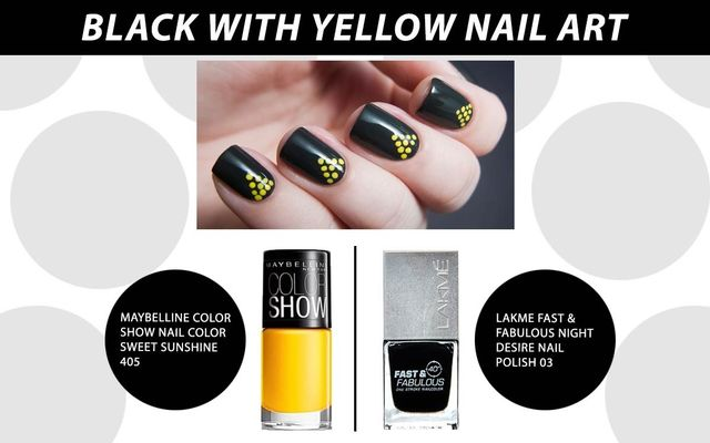 Black With Yellow Nail Art