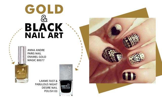 Gold & Black Nail Art