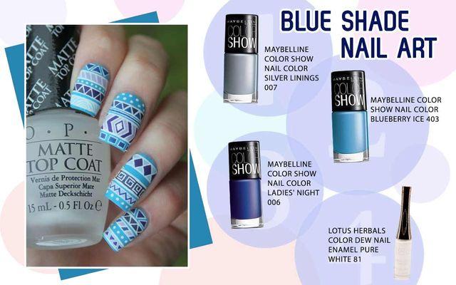 Blue Shade Nail Art