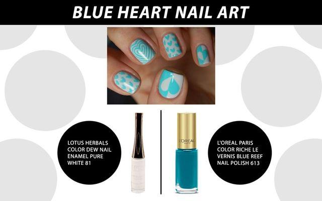 Blue Heart Nail Art
