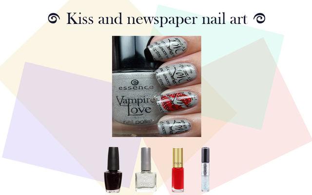 Kiss And Newspaper Nail Art