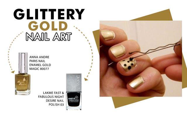 Glittery Gold Nail Art