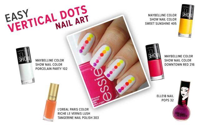 Easy Vertical Dots Nail Art