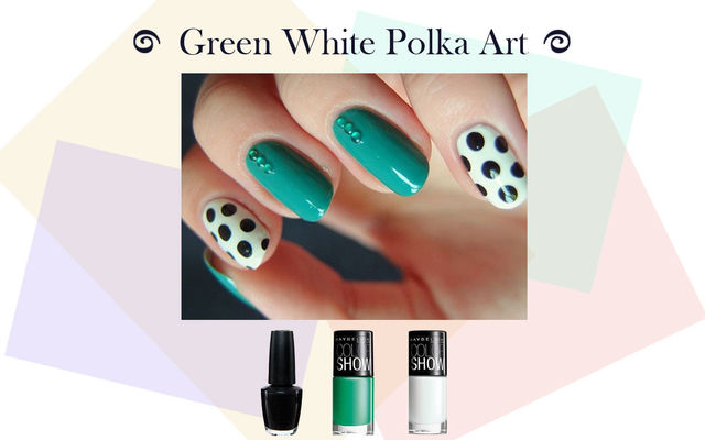 Green White Polka Art