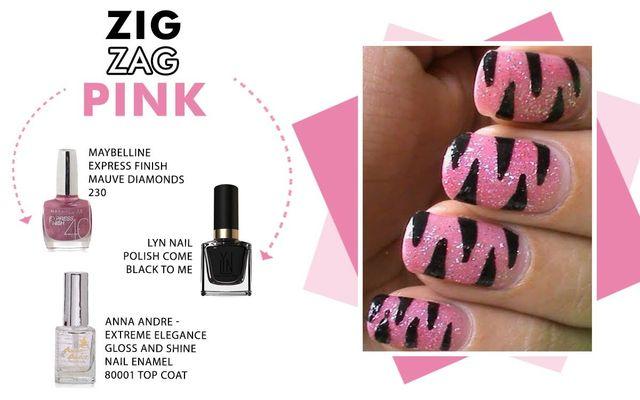 Zig-zag Pink Nail Art