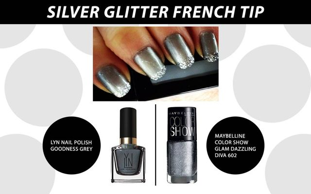 SIlver Glitter French Tip