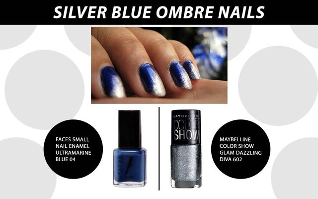 Silver Blue Ombre Nails