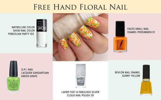 Free Hand Floral Nail Art
