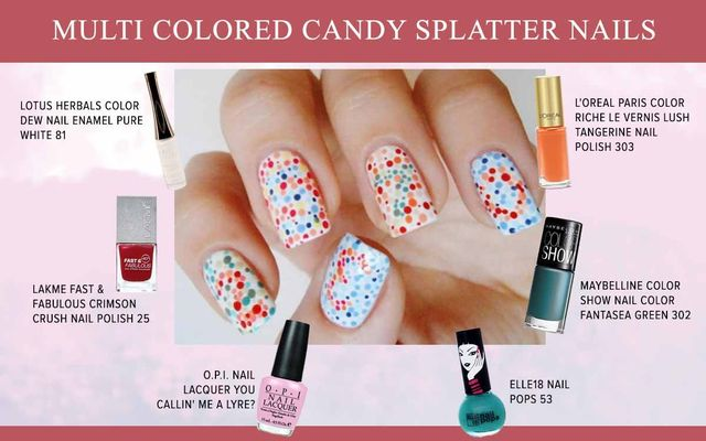 Multicolored Candy Splatter Nails