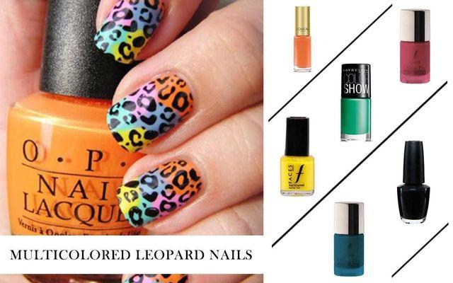 Multicolored Leopard Nails